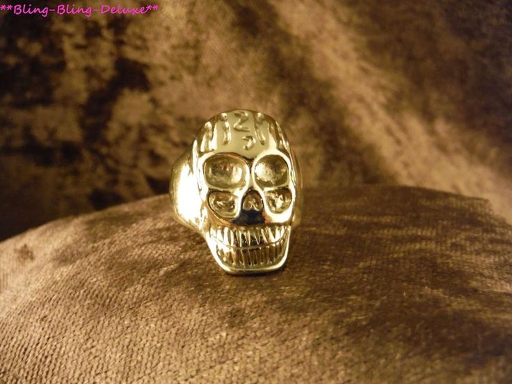 Biker Ring Schädel 24 Karat Vergoldet Rocker Gothic Skull Edelstahl Gold Gothik