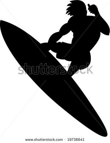 Silhouette of a surfer  #surfer #silhouette #illustration