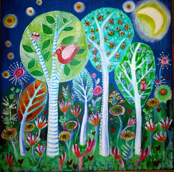 Nocturnal joy... by Shelley Wilson. #whimsical #illustration #colourful #acrylic #painting