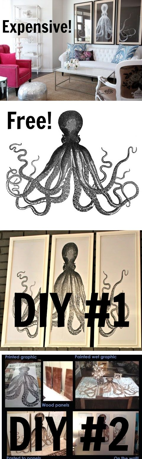 DIY Octopus Triptych Wall Art with Free Printable. 2 Ideas. Featured on Completely Coastal: http://www.completely-coastal.com/2011/05/octopus-triptych-diy-art-project-idea.html