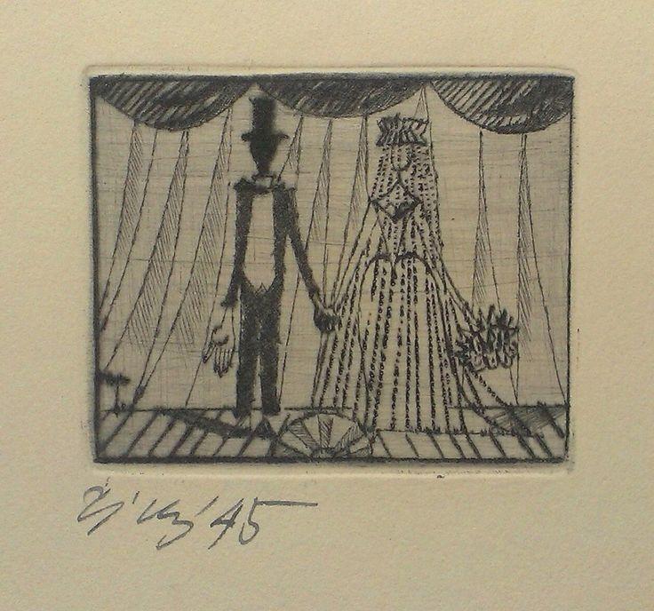 Frantisek Tichy, Wedding wish, 1945 , dry-point Czech Rep.