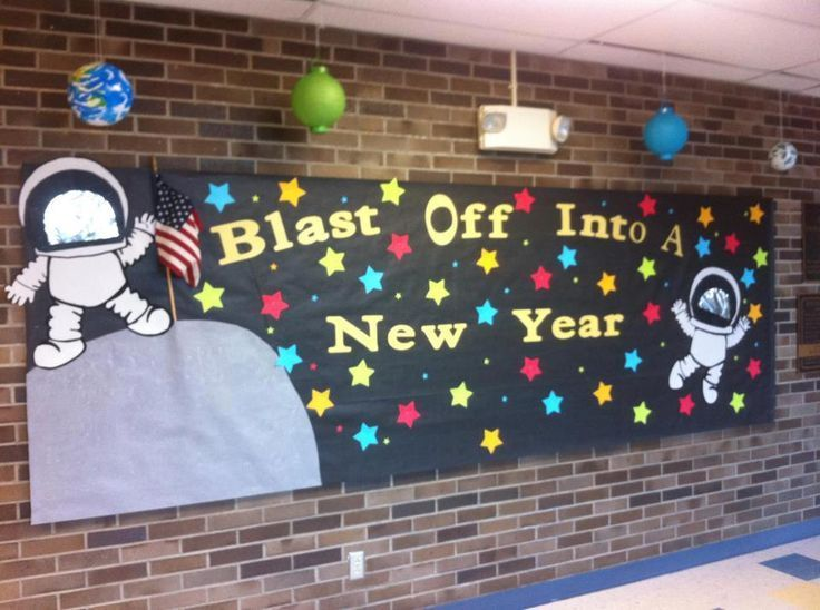"Space themed back to school bulletin board. ""Blast Off Into A New Year"" Add rockets, planets, kids names to stars, etc."