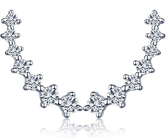 Unendlich U Fashion 7 Sterne Damen Ohrstecker 925 Sterling Silber Zirkonia Ohrklemme Ear Cuff Ohrringe Ohrschmuck, Silber