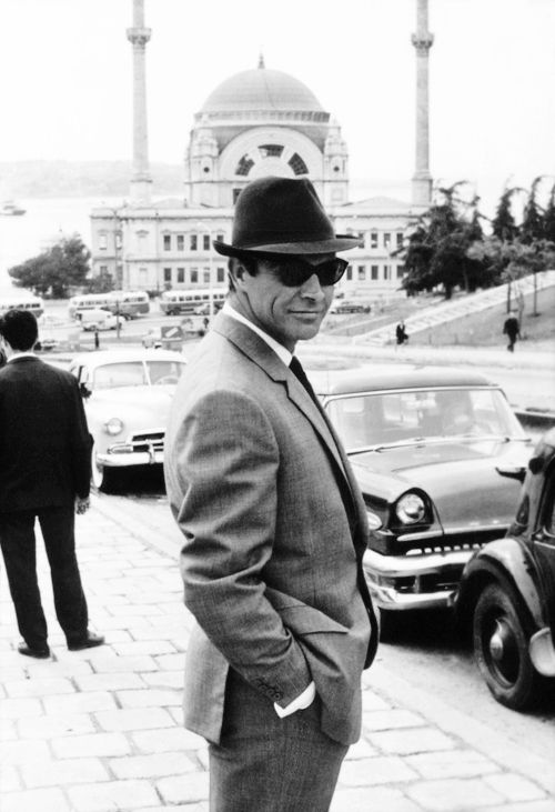 Sean Connery in Istanbul for From Russia With Love (1963) http://www.thesterlingsilver.com/product/giorgio-armani-ga-887s-aviator-sunglasses-black-gunmetal-frame-dark-grey-lens/