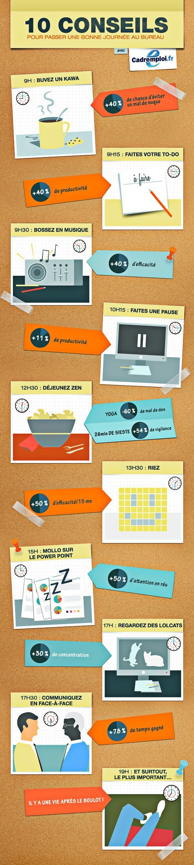 Les conseils pour otpimiser votre journée de travail. #infographie #startup #job
