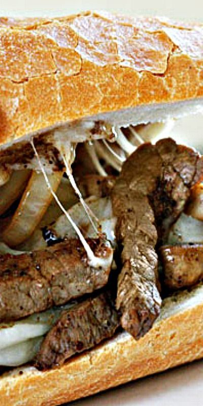 Steak and Cheese Sandwich with Onions and Mushrooms