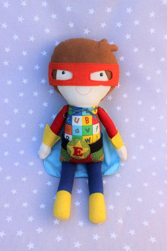 Muñeco Niño superhéroe, muñeca, personalizado, súper, niños, bebé , regalo, antifaz, muñeco de trapo, algodón