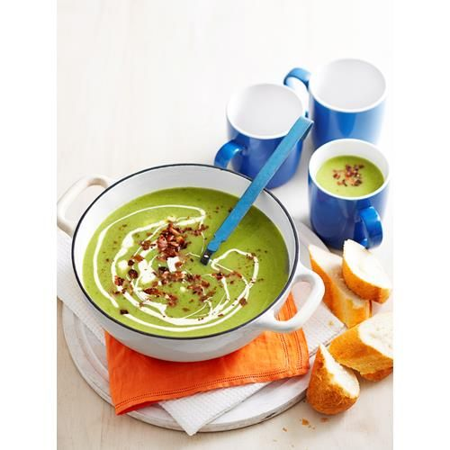 Creamy spinach and potato soup recipe - By Woman's Day, With the high nutritional value of spinach and the filling goodness of potato, topped with crispy bacon, this winter warmer soup is healthy and tasty as can be!