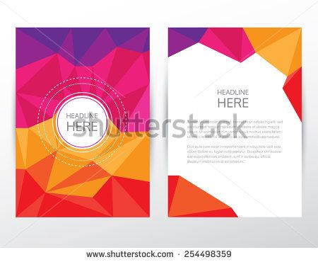 multicolored vivid bright modern brochure cover and letterhead template mockup in trendy low poly style for business visual identity