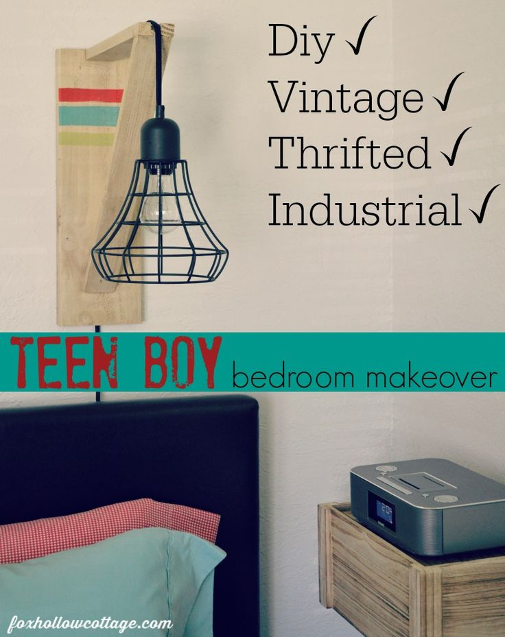 Eclectic Teen Boy Bedroom Makeover Decor and Decorating Ideas. DIY, Thrifted, Vintage...