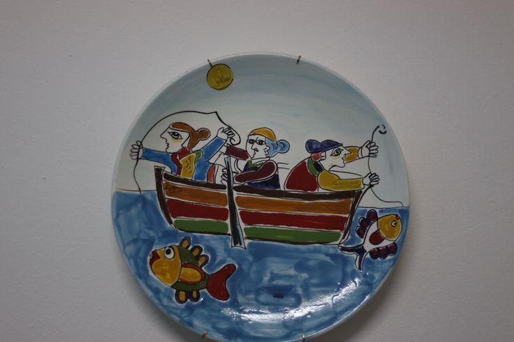 Piatto diametro cm 30 - decoro scene di pesca
