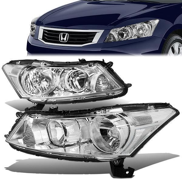 08 12 Honda Accord Sedan Headlights Chrome Housing Clear Corner Honda Accord Honda Headlights