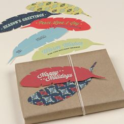 Feather gift tags
