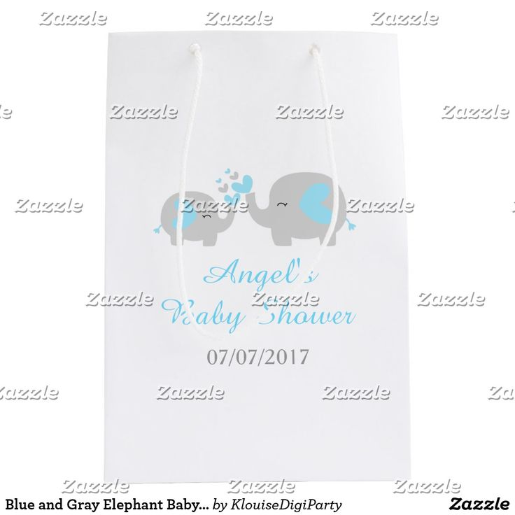 Blue and Gray Elephant Baby Shower Medium Gift Bag