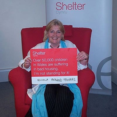 Popular radio presenter, Nicola Neywood Thomas, is backing Shelter Cymru in the fight against poor housing conditions in Wales.