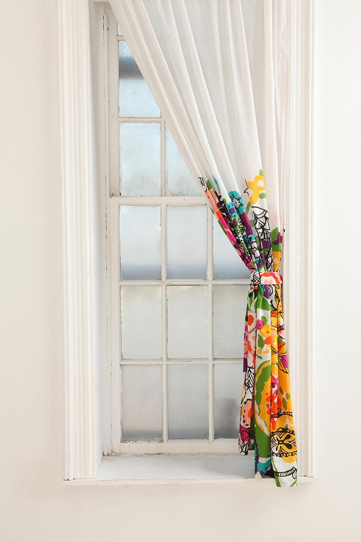 would be a lot of fun to pull colors from for the rest of the room - Urban Outfitters Woodland Garden Curtain ($39)