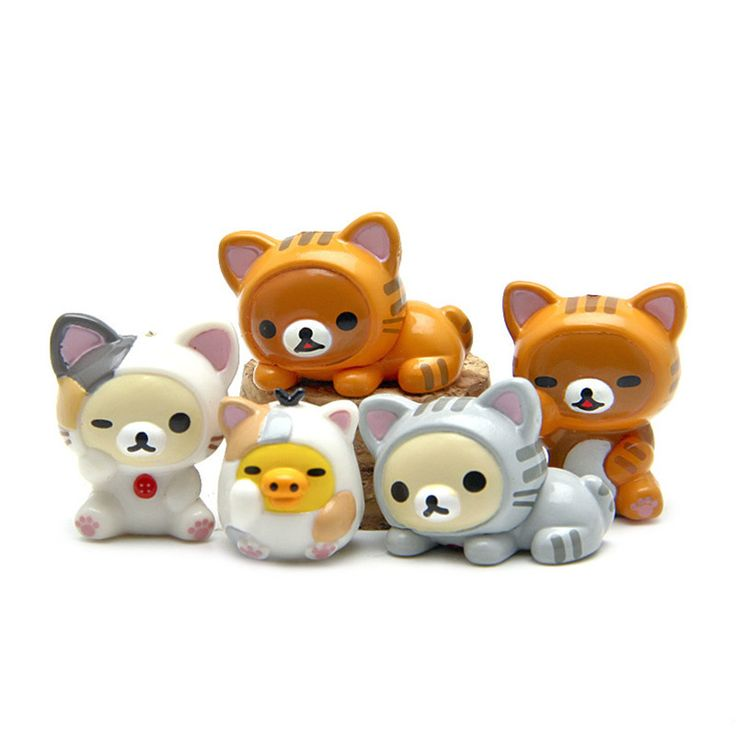 5 Pcs Cute Bear Cat Pig Action Figure Toy Kit //Price: $9.45 & FREE Shipping //     #actionfigure