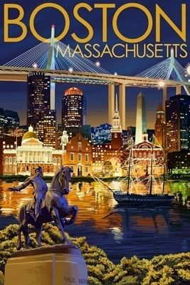 Boston, Massachusetts - Skyline at Night - Lantern Press Poster