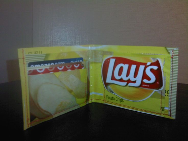 """Thanks for the positive response to my earlier Instructable, the """"Capri Sun Wallets,"""" which can be found here: http://www.instructables.com/id/Capri-Sun-Wallets/. There are tons of recyclables you can use to make wallets and other fun, useful stuff. I came up with this Potato Chip Bag Wallet to combine my love of noshing and wallets. BUT - what's the secret to making the thin, slippery chip bags into a tough, durable material suitable for a wallet? The answer..."""