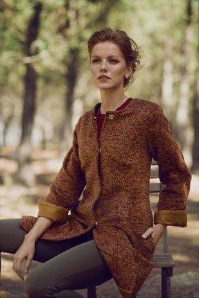 Dilvin - Stil Sahibi Kadının Kış Dolabı - Turuncu Kaban 123A70196 %60 indirimle 189,99TL ile Trendyol da