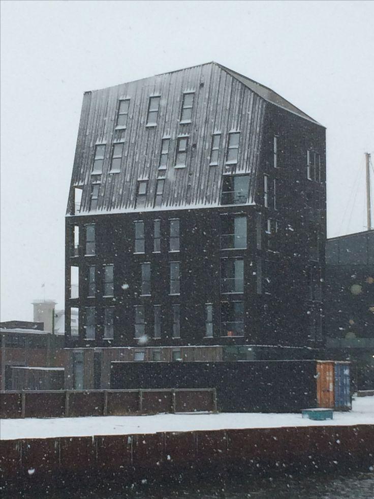 Nordatlantisk Hus i snevejr - fra min løbetur 8/2-17
