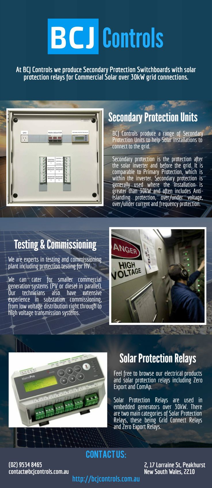 BCJ Control aiming to serve quality works in the field of Electricity. Providing best secondary protection units, expert in testing and commissioning and quality solar protection relays.