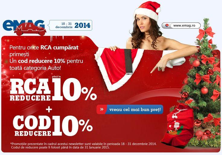 http://bit.ly/1r7IL0v  Reducerile din aceasta promotie sunt valabile pana la 31 decembrie 2014 (aici). Oricum, verificati link-urile pentru ca reduceri sunt tot timpul.  La Asigurarea RCA, eMAG îți oferă până la 10% reducere pe loc! Un COD de 10% reducere la produsele din categoria Auto.