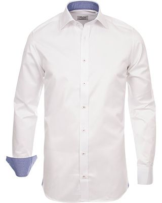 Stenströms Slimline Pin Point Oxford Contrast Shirt White Dot