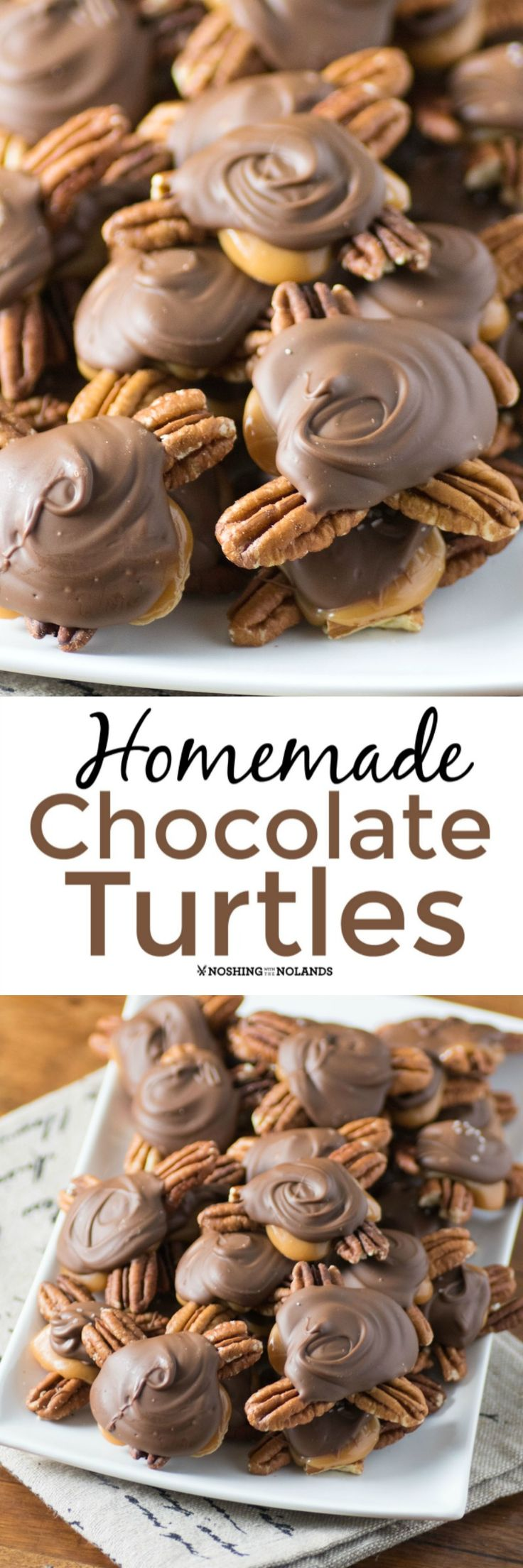 Homemade Chocolate Turtles by Noshing With The Nolands is an all time favorite that is a decadent addition to any holiday basket. You won't be able to stop eating them!