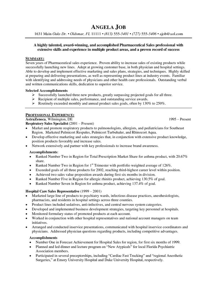 Medical Sales Resume Examples - Examples of Resumes - Pharmaceutical Sales Rep Resume Examples