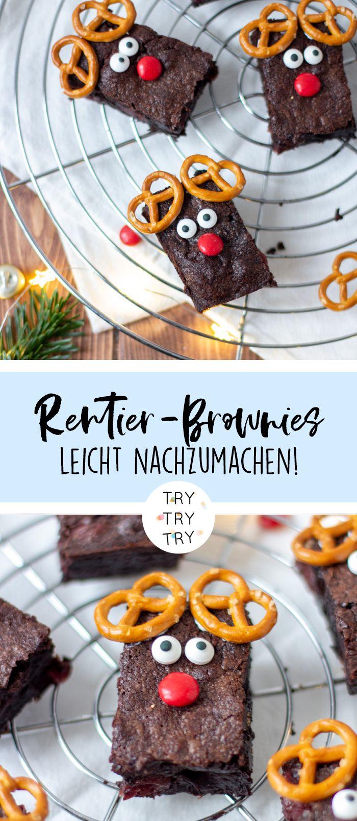 Kinder Weihnachtsgebäck.Rudolph Rentier Brownies Mit Kirschen Kitchen Meat