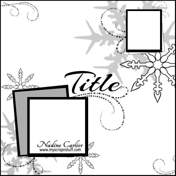 Winter Scrapbook Layout Sketch by @scrappinready
