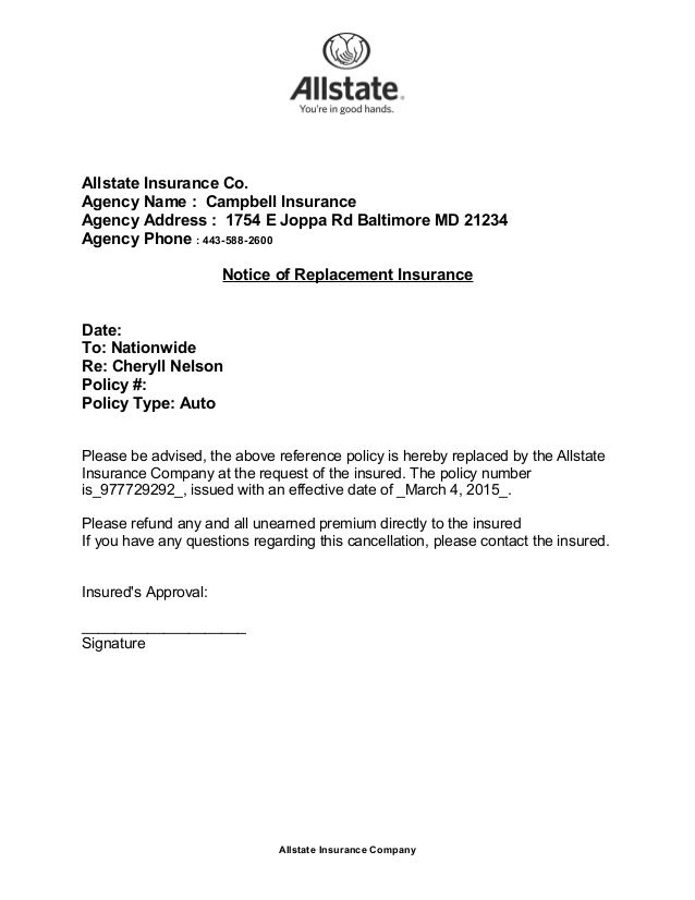 allstate insurance coency name campbell insuranceagency address cancellation letter with sample cover templates