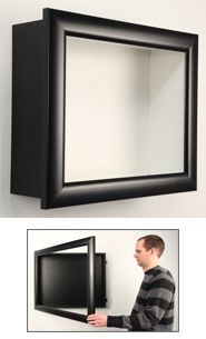 Wall Shadow Box with LED Lighting | 1 Inch Deep Super Wide Face SwingFrames Display Case | Metal Shadow Box Frames