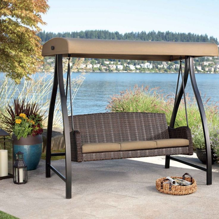 Outdoor Winsome Patio Swing With Canopy 3 Person Wicker Chair Brown Finish Adjustable Polyester Canopy Powder Coated Steel Frame Beige Seat Cushion Outdoor Backyard Furniture Ideas Comfortable Patio Swing With Canopy