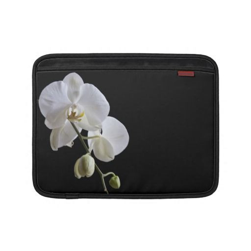 White Orchid on Black MacBook Air Sleeve
