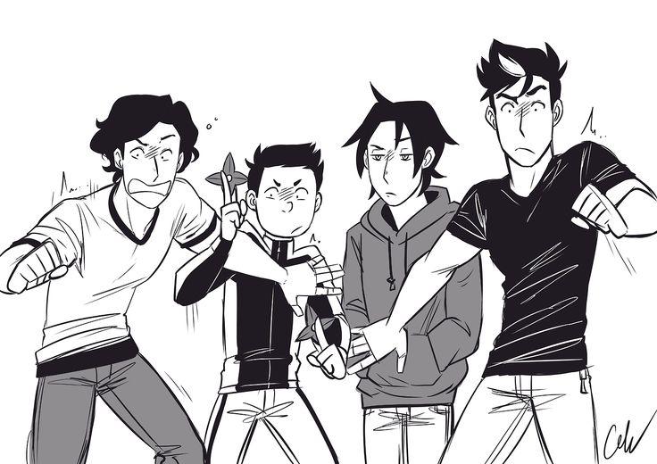 Batboys & haunted house reactions. Dick Grayson, Damian Wayne, Tim Drake, & Jason Todd.
