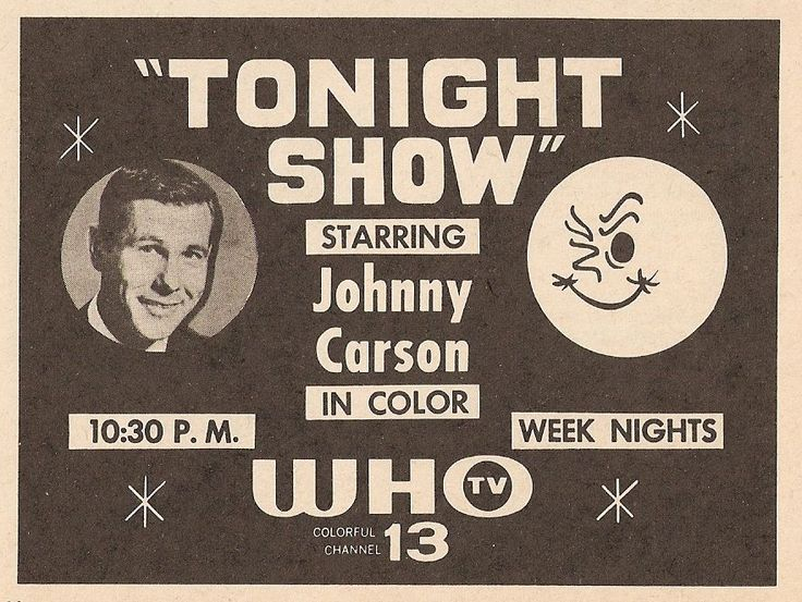 1963 Who TV Ad Tonight Show with Johnny Carson in Des Moines Iowa Winking Moon | eBay