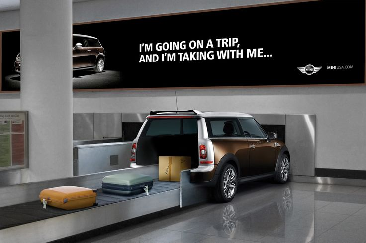 Very clever Mini Cooper airport ad accepting luggage.