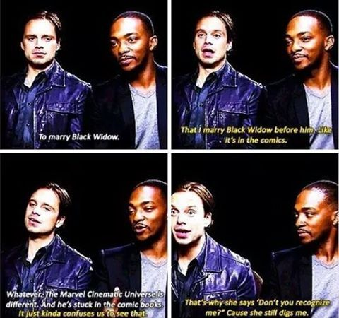 """""""What would you like to see in upcoming Marvel movies?"""" (White= Anthony Mackie, Gold=Sebastian Stan)"""