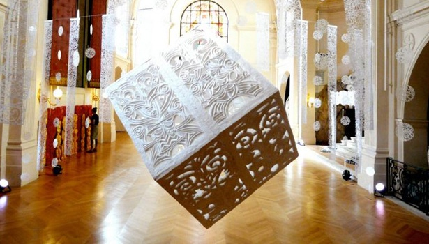 An installation at Church of Saint Roch in Paris featuring a polystyrene cube carved by Maori artist George Nuku #sculpture