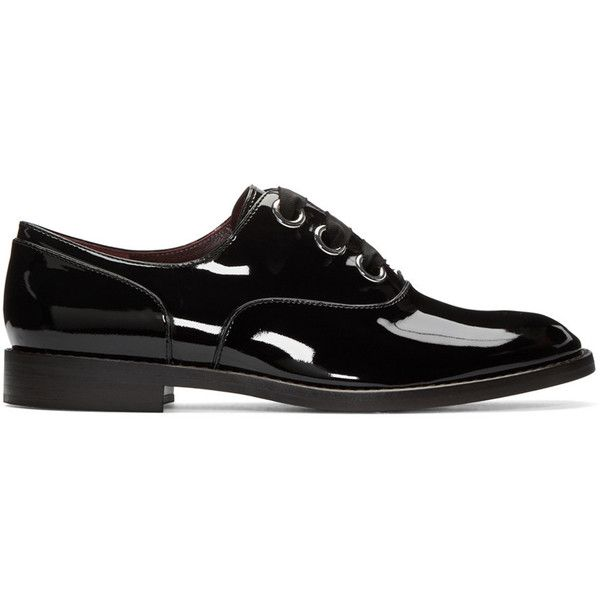 Marc Jacobs Black Patent Leather Helena Oxfords (25,125 INR) ❤ liked on Polyvore featuring shoes, oxfords, black, patent leather oxfords, marc jacobs shoes, black patent leather oxfords, black patent shoes and oxford shoes