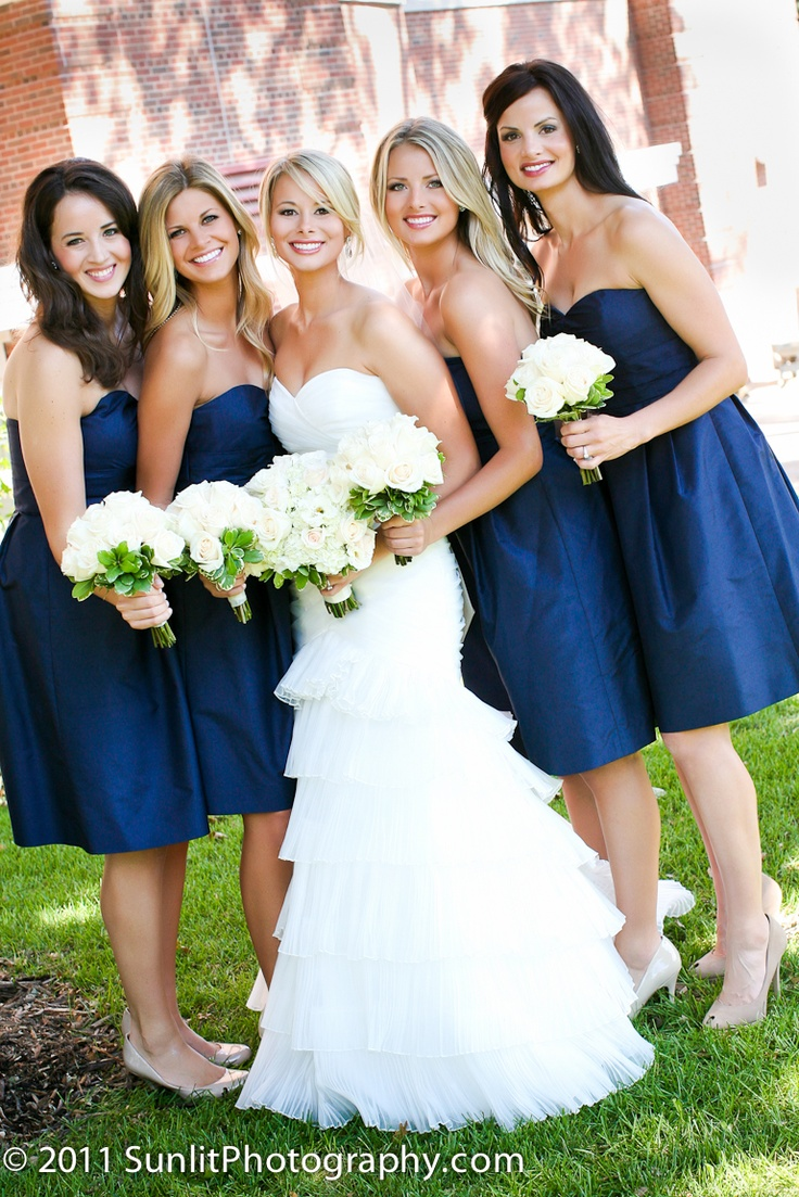 I Like The Small White Bouquets For Bridesmaids If They Re All Wearing A Nice Wedding Bridesmaid Bouquetsnavy Blue