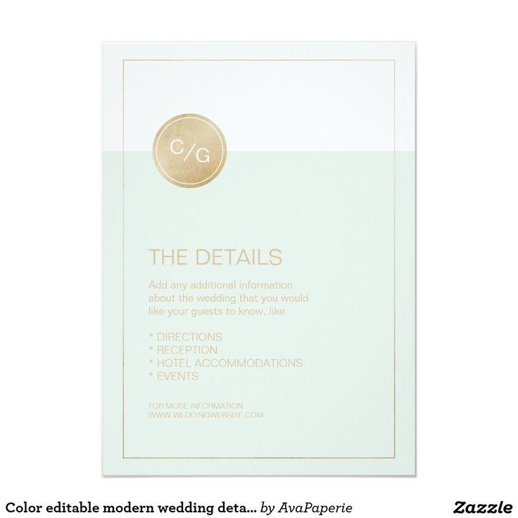 zazzle wedding invitations promo code%0A Color editable modern wedding details card