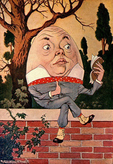 Humpty Dumpty took the book, and looked at it carefully - Alice in Wonderland, 1916