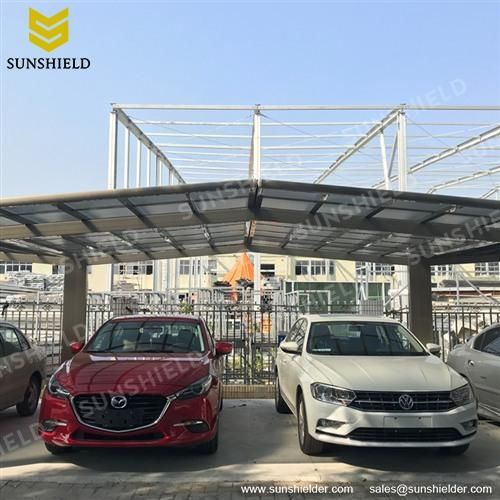Portable Metal Carport with flat roof gable polycarbonate ...