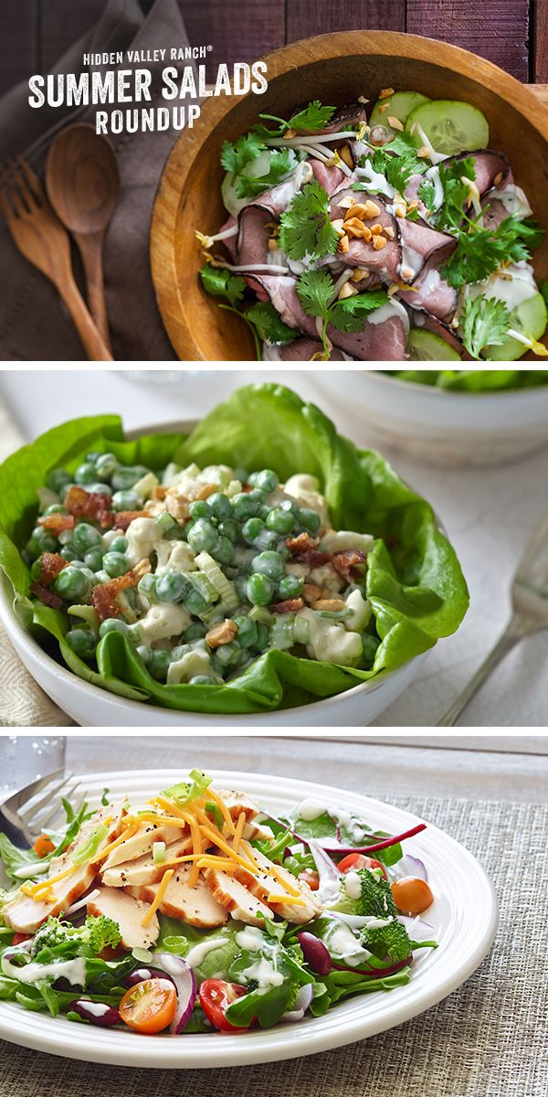 When summer calls for salads, we call on these delicious salad recipes. From a crunchy pea salad to a fresh garden salad with seasonal veggies to a savory yet summery Thai steak salad, they'll be a hit at your BBQ or block party, or enjoy on your own! Read more here: http://hiddnval.ly/r2Erqa