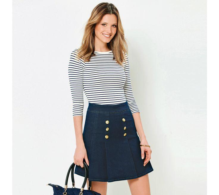 Džínová sukně se sklady a knoflíky | modino.cz #modino_cz #modino_style #style #fashion #newseason #autumn #fall