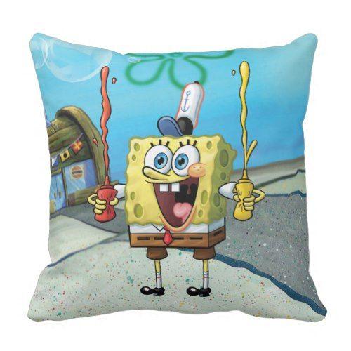 SpongeBob   Happy Fry Cook Throw Pillow