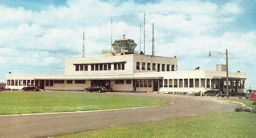 Dorval QU Canada Circa 1950 Old Montreal Airport Canada L Aeroport De Montreal Dorval PQ Mirro-Krome Card BR157 Postmarked 1